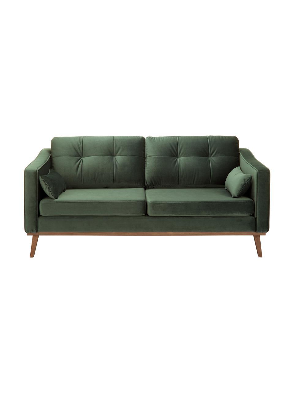 Fluwelen bank Alva (2-zits) in groen met houten poten, Bekleding: fluweel (hoogwaardig poly, Frame: massief grenenhout, Poten: massief gebeitst beukenho, Olijfkleurig, 184 x 92 cm