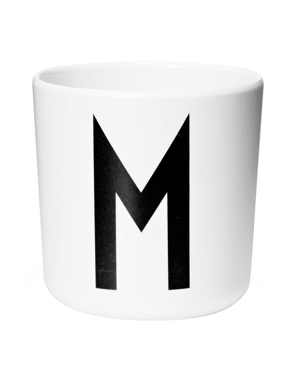 Kinderbeker Alphabet (varianten van A tot Z), Melamine, Wit, zwart, Beker M