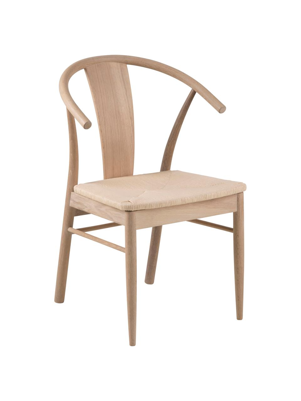 Sedia in legno di quercia Janik, Struttura: legno di quercia pigmenta, Seduta: vimini giunco, Beige, Larg. 54 x Prof. 54 cm