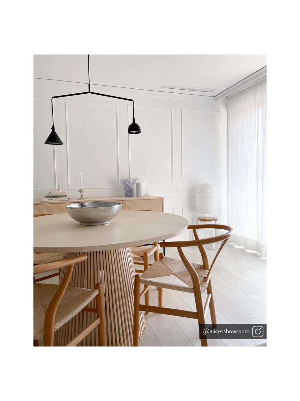 Houten stoel Janik van eikenhout, Frame: eiken, wit gepigmenteerd, Zitvlak: biezen vlechtwerk, Beige, 54 x 54 cm