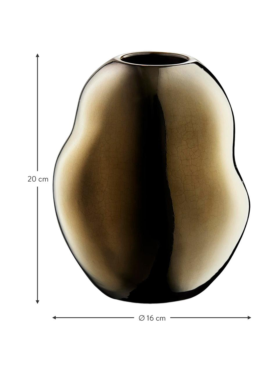 Ręcznie wykonany wazon z porcelany Fiora, Porcelana, Odcienie złotego, Ø 16 x W 20 cm