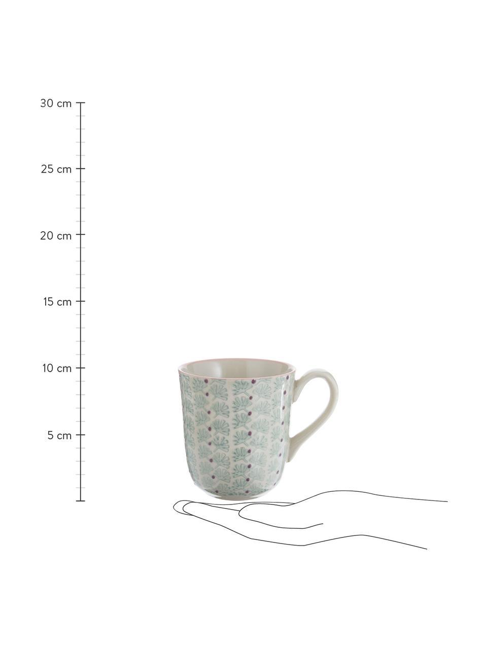 Tassen Maya mit kleinem Muster, 3er-Set, Steingut, Weiß, Grün, Rosa, Lila, Ø 9 x H 10 cm