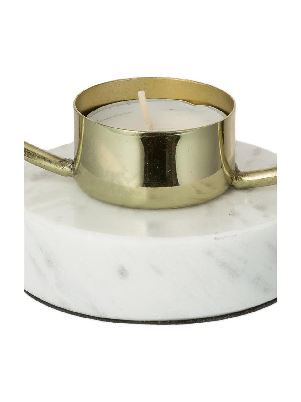 Świecznik Ring, Nogi: marmur, Odcienie złotego, biały, S 18 x W 20 cm