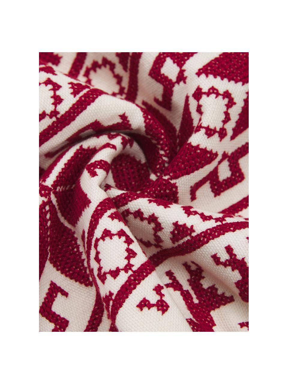 Housse de coussin brodée à motif norvégien Orkney, Rouge, blanc crème