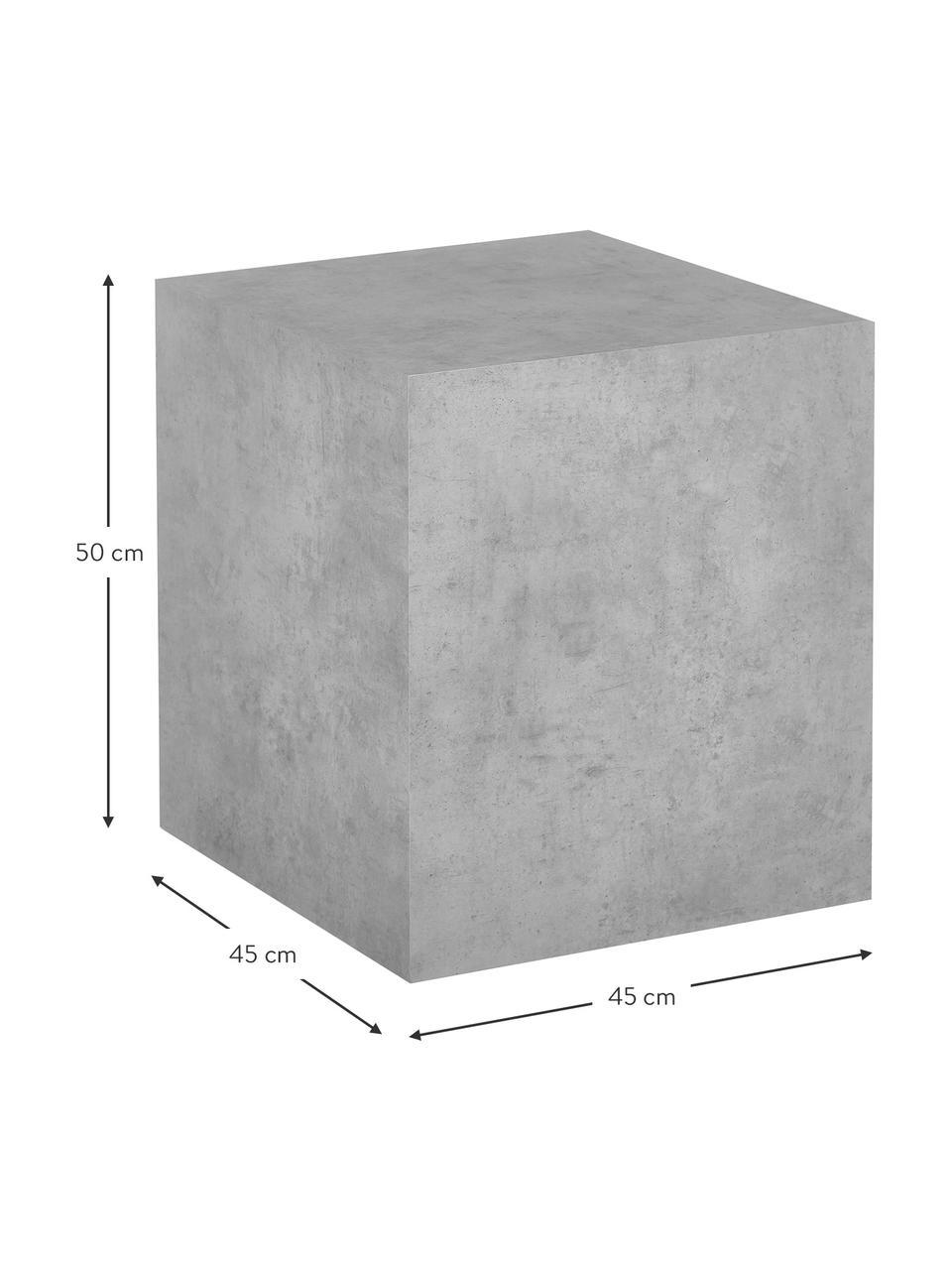 Bijzettafel Lesley in betonlook, MDF bekleed met melaminefolie, Grijs, betonlook, 45 x 50 cm