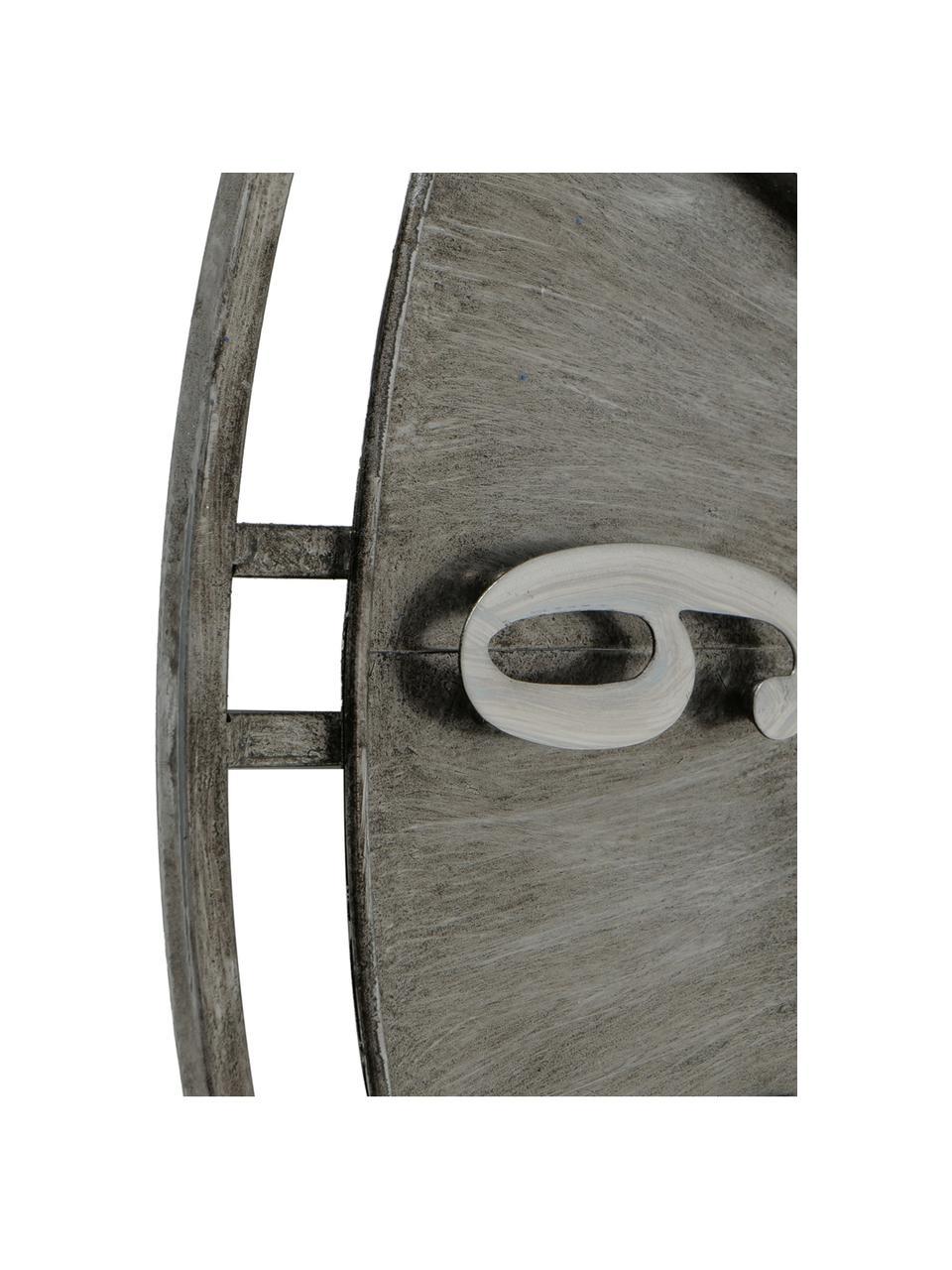 Zegar ścienny Hudson, Metal powlekany, Szary z antycznym wykończeniem, Ø 60 cm