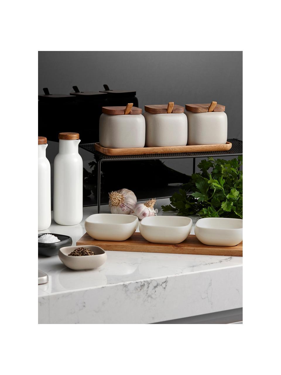 Set apéritif porcelaine et bois d'acacia Essentials, 4élém., Blanc, bois d'acacia