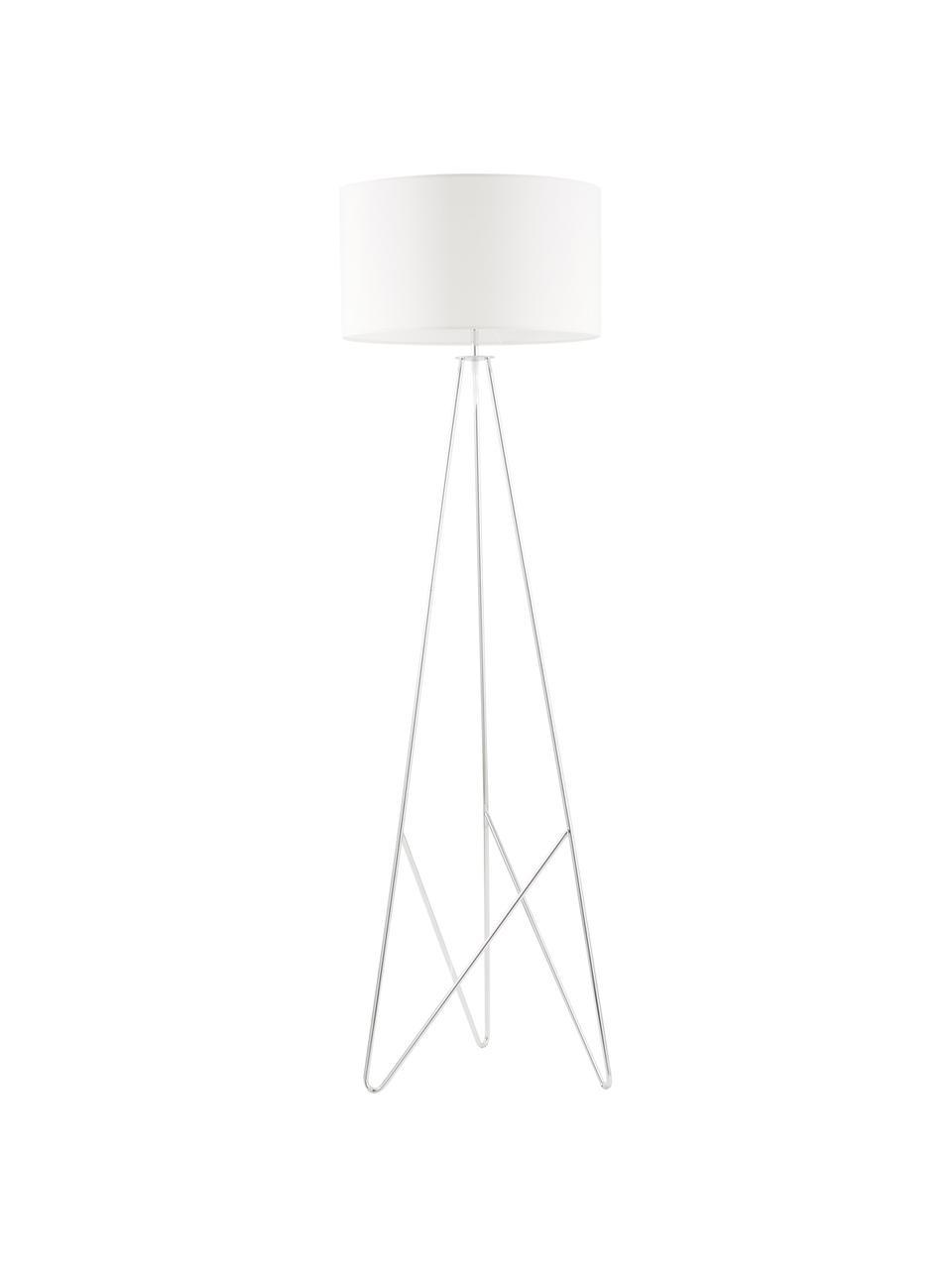 Stehlampe Jessica mit Silber-Dekor, Lampenschirm: Textil, Lampenfuß: Metall, verchromt, Weiß, Chrom, Ø 45 x H 155 cm
