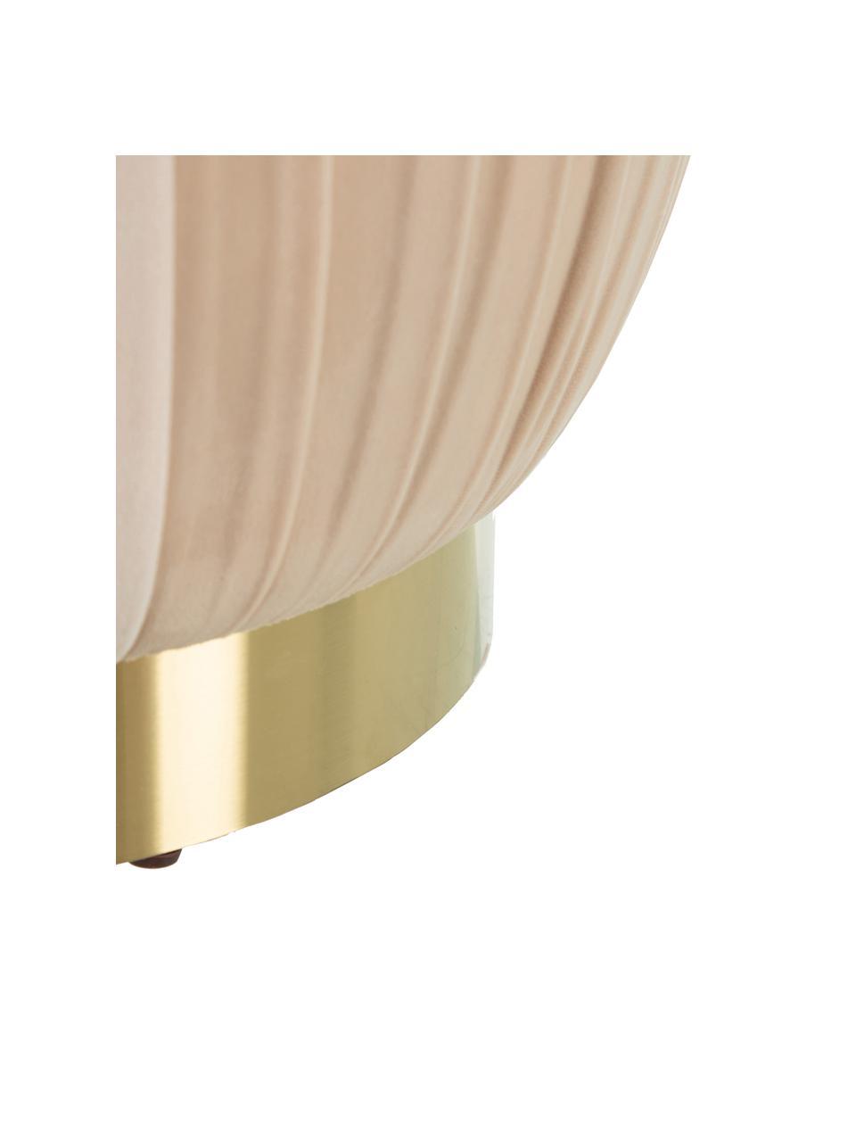 Pouf in velluto Karin, Rivestimento: 100% velluto di poliester, Struttura: pannello di fibra a media, Color crema, Ø 43 x Alt. 42 cm