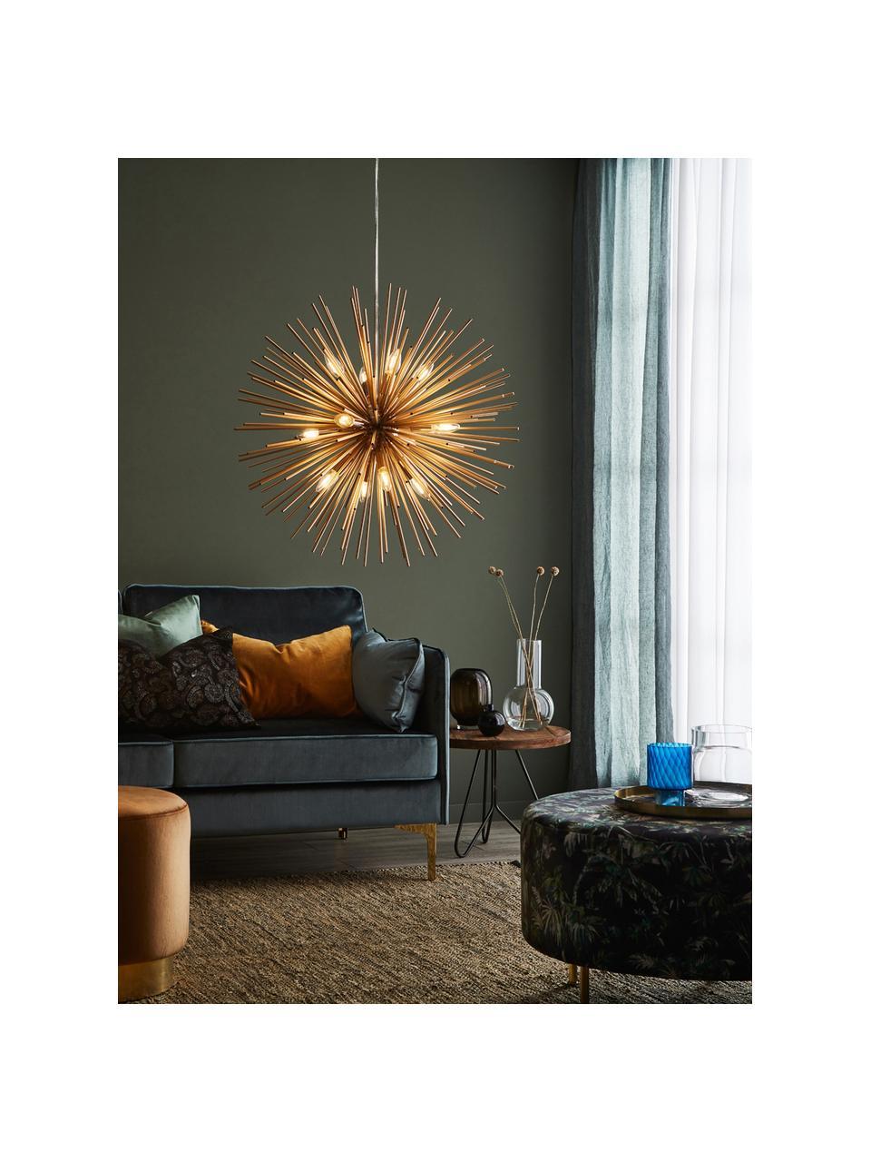 Große Design Pendelleuchte Soleil, Lampenschirm: Metall, beschichtet, Baldachin: Metall, beschichtet, Messingfarben, Ø 72 cm