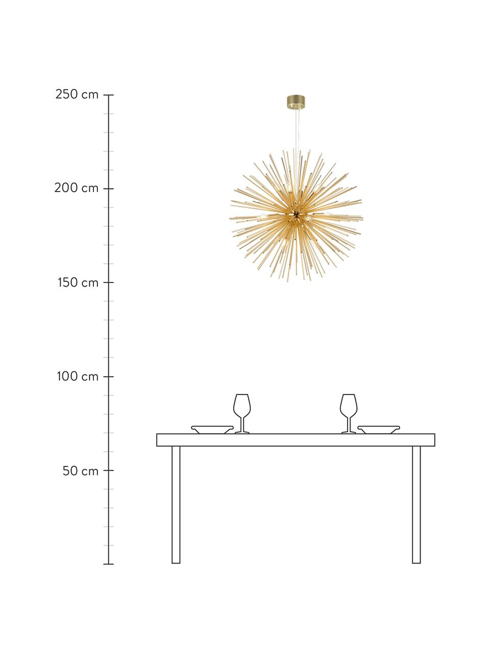 Lampada a sospensione Soleil, Paralume: metallo rivestito, Baldacchino: metallo rivestito, Ottonato, Ø 72 x Alt. 200 cm