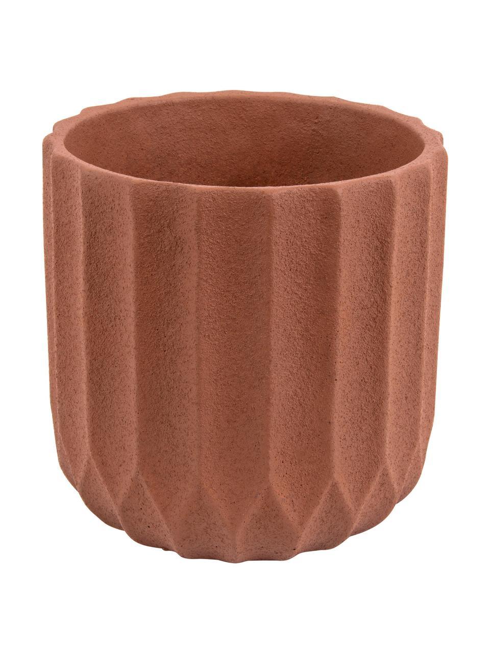 Macetero de cerámica Stripes, Cerámica, Marrón, Ø 18 x Al 18 cm