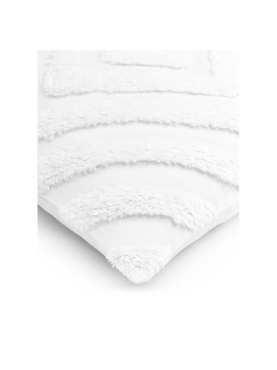 Federa arredo con motivo trapuntato Kara, 100% cotone, Bianco, Larg. 50 x Lung. 50 cm