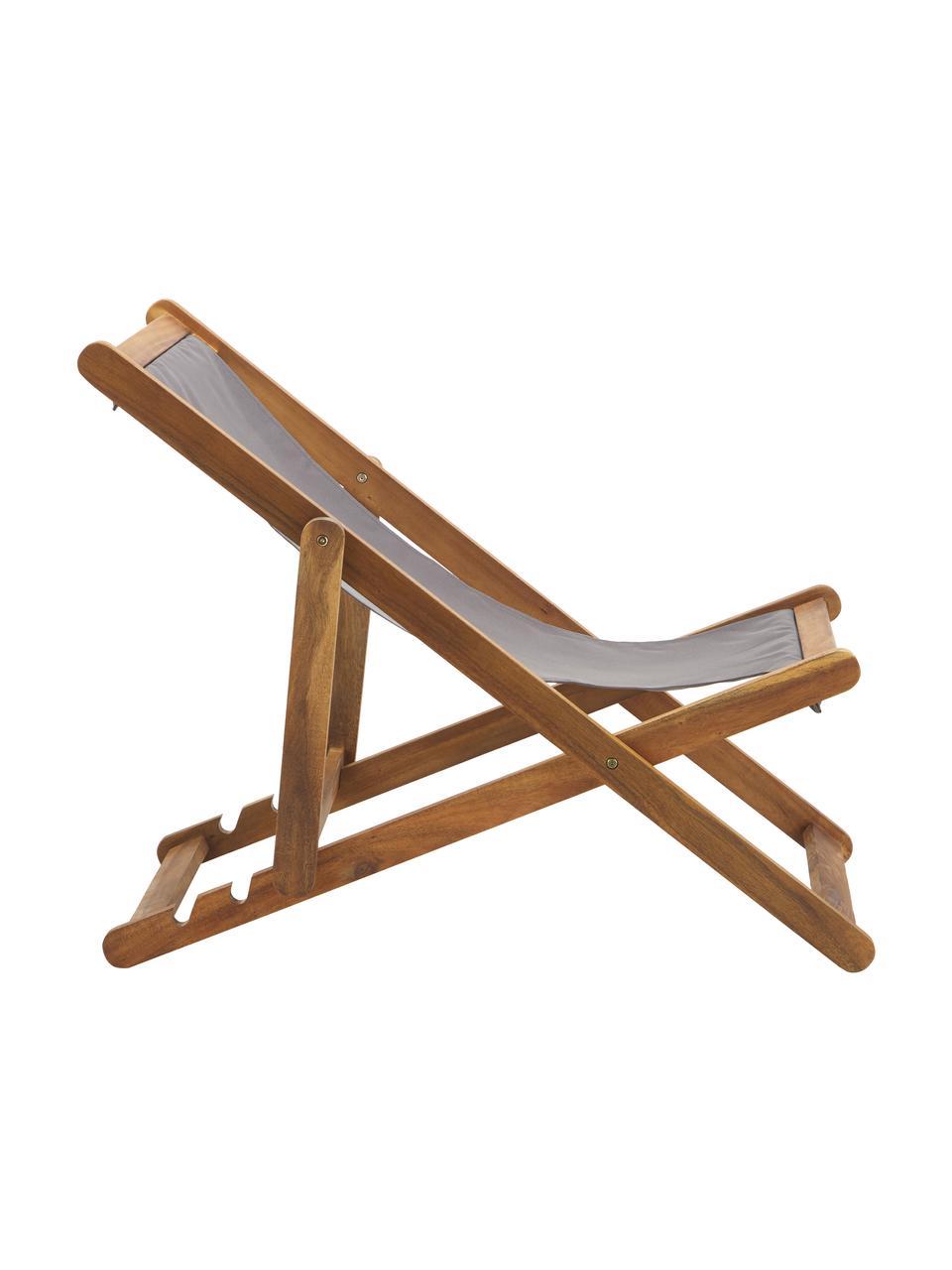 Składany leżak Zoe, Stelaż: lite drewno akacjowe, ole, Szary, S 59 x G 84 cm
