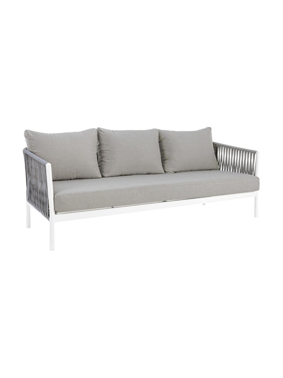 Sofa ogrodowa Florencia (3-osobowa), Stelaż: aluminium, malowane prosz, Szary, biały, S 220 x G 85 cm