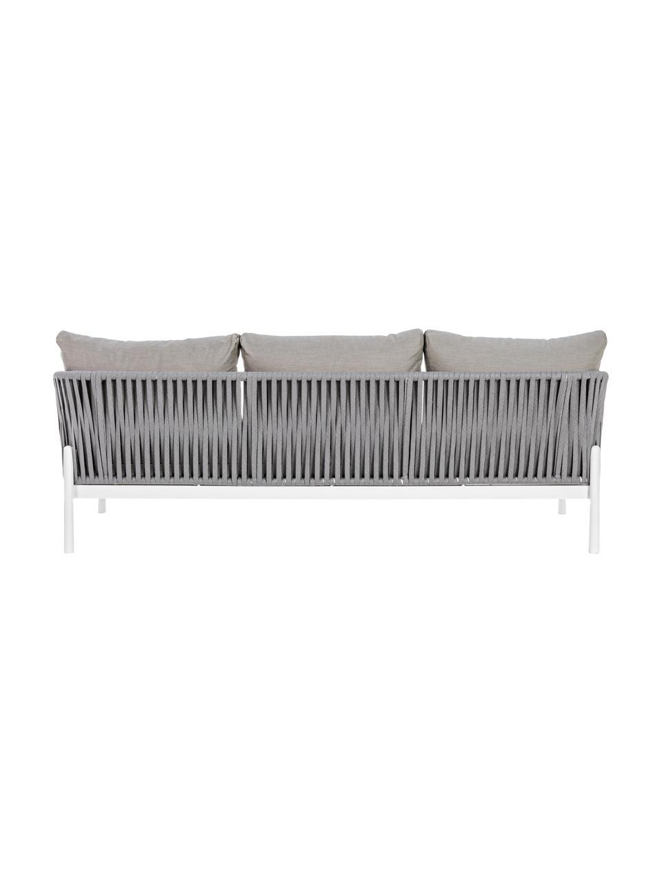 Divano 3 posti da giardino Florencia, Struttura: alluminio verniciato a po, Seduta: poliestere, Grigio, bianco, Larg. 220 x Prof. 85 cm
