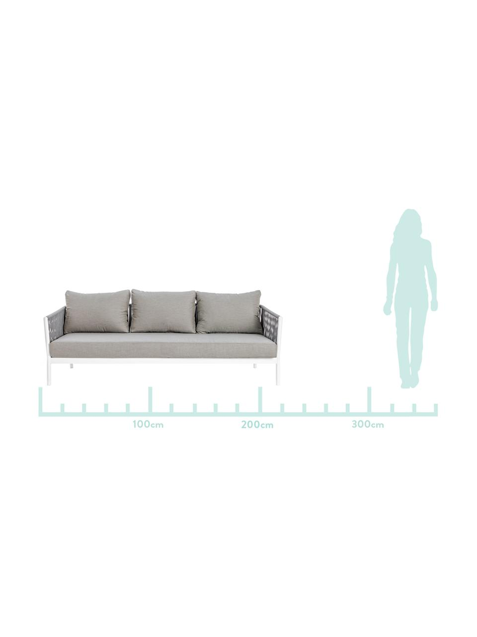 Garten-Loungesofa Florencia (3-Sitzer), Gestell: Aluminium, pulverbeschich, Sitzfläche: Polyester, Grau, Weiß, B 220 x T 85 cm
