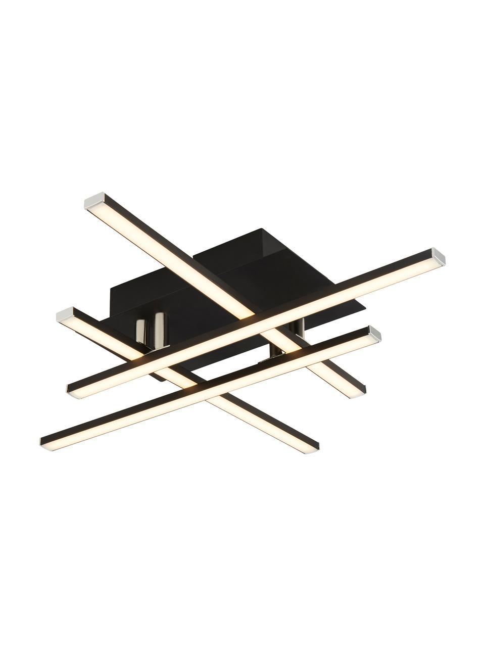 Lampada da soffitto a LED nera Matrix, Paralume: alluminio rivestito, Baldacchino: metallo rivestito, Nero opaco, bianco, Larg. 46 x Alt. 9 cm