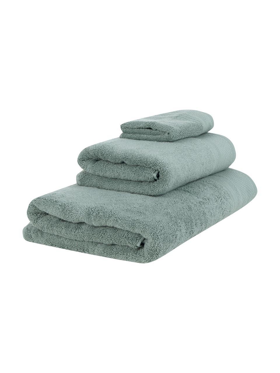 Lot de serviettes de bain avec bordure classique Premium, 3élém., Vert sauge