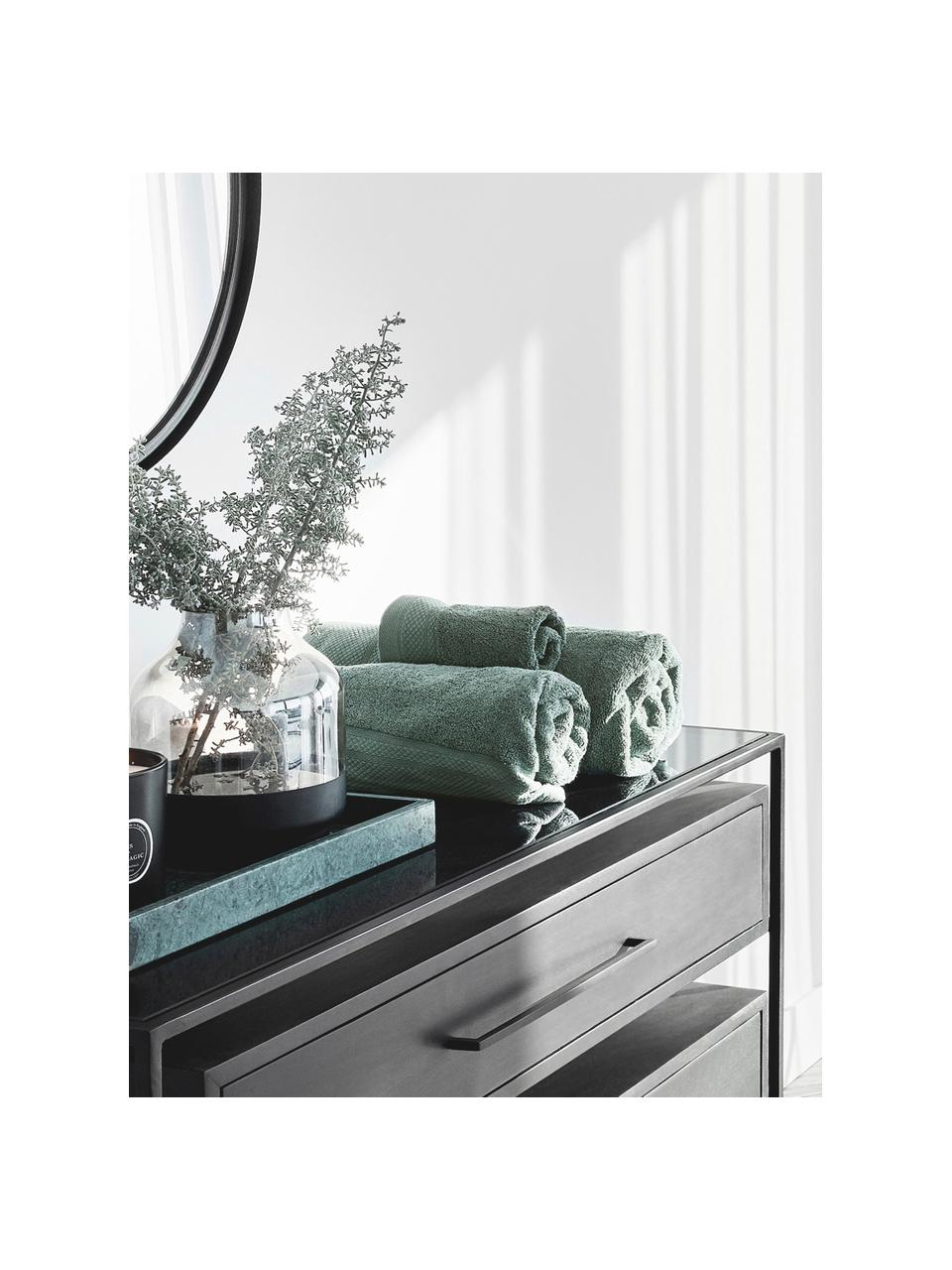 Set 3 asciugamani con bordo decorativo classico Premium, Verde salvia, Set in varie misure