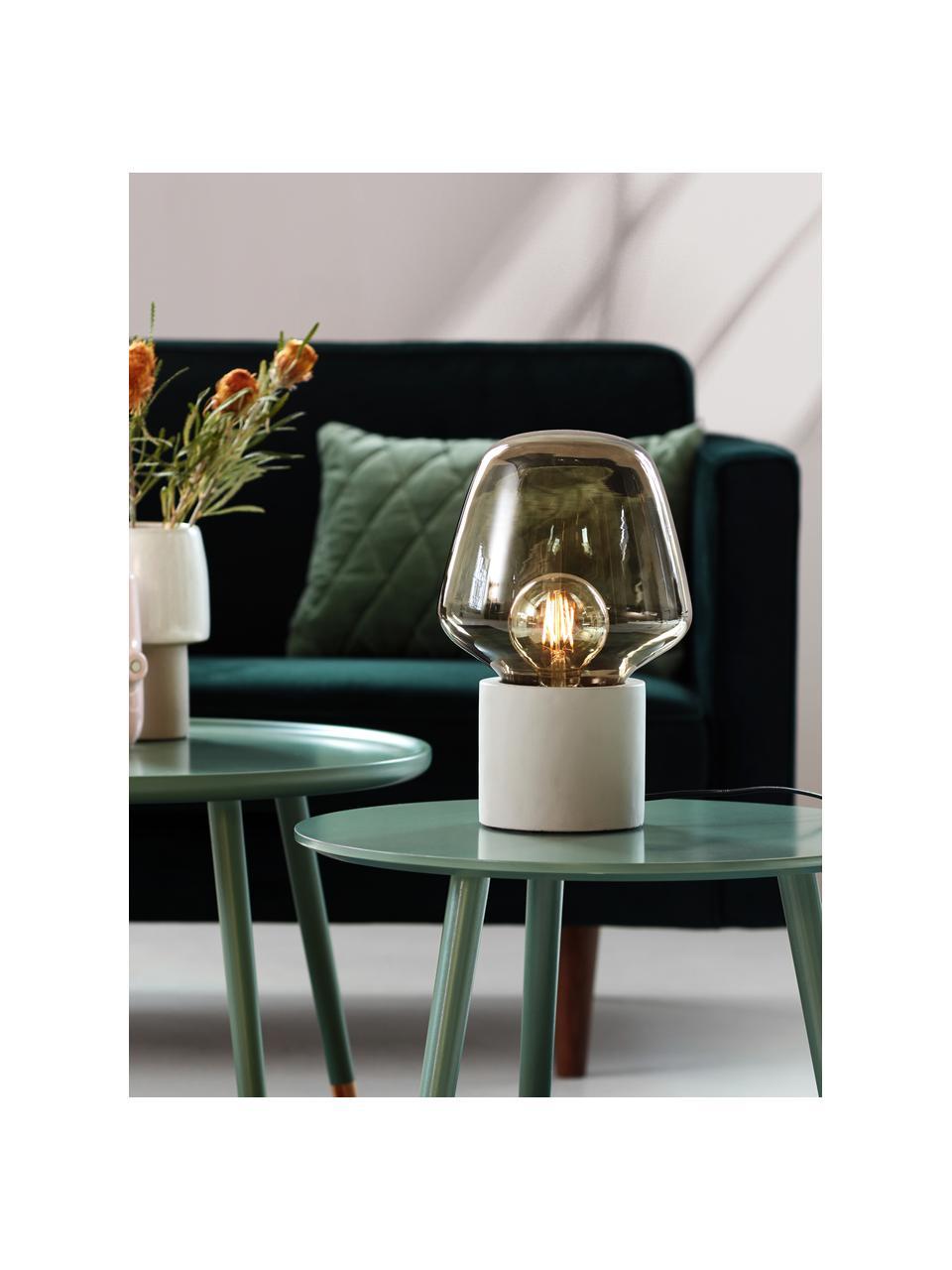 Lampada da tavolo con base in cemento Christina, Paralume: vetro, Base della lampada: cemento, Grigio cemento, grigio, trasparente, Ø 20 x Alt. 30 cm