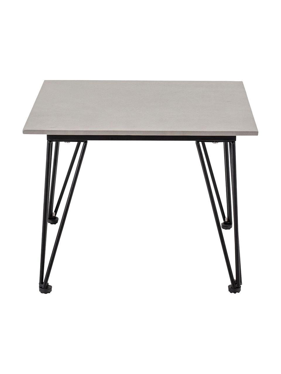 Tuintafel Mundo van beton, Tafelblad: beton, Poten: gecoat metaal, Wit, zwart, 55 x 42 cm
