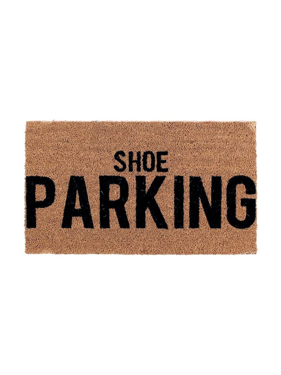Fußmatte Shoe Parking, Oberseite: Kokosfaser, Unterseite: PVC, Braun, Schwarz, 40 x 70 cm