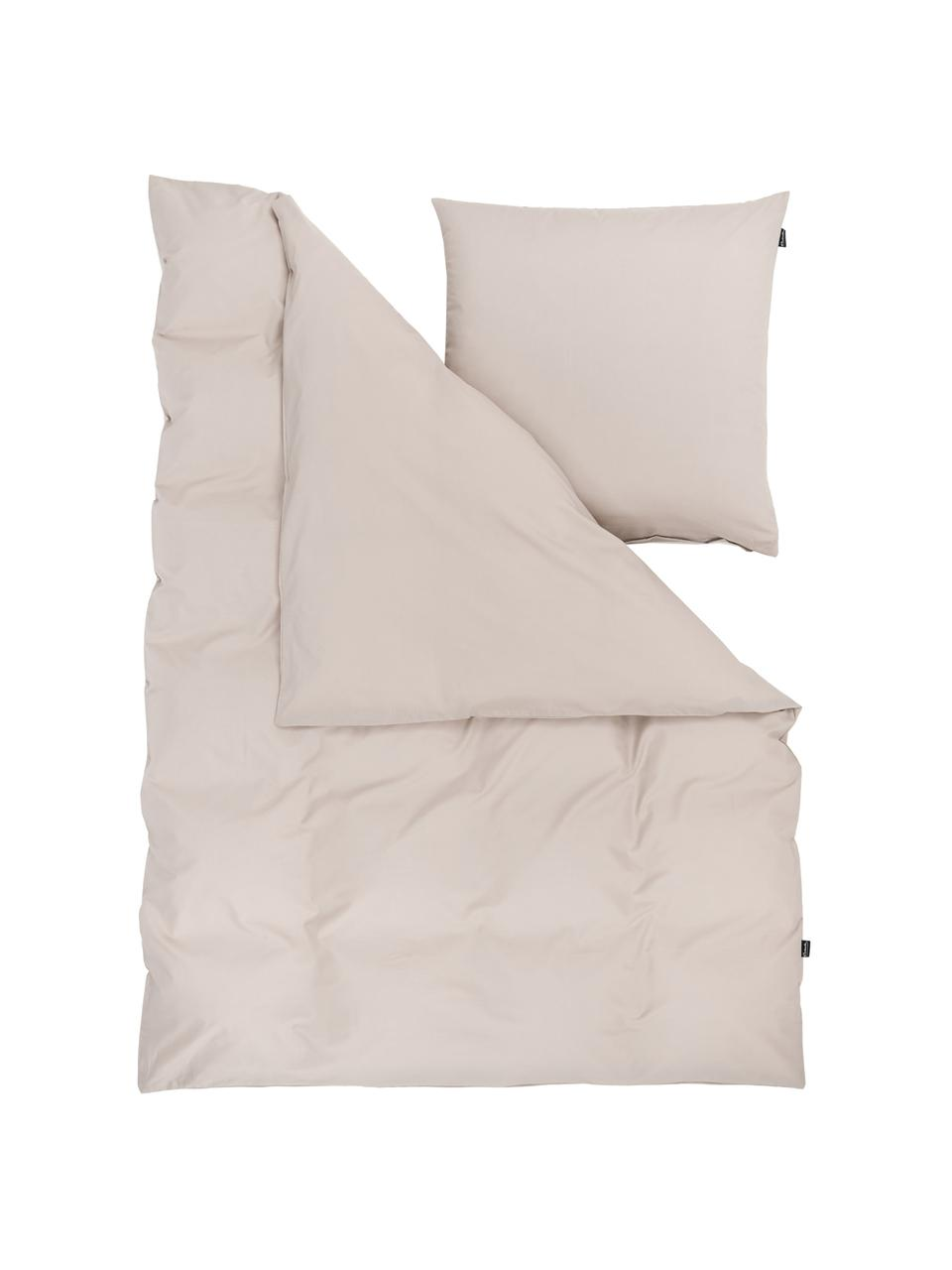 Pościel z bawełny Weekend, Taupe, 135 x 200 cm + 1 poduszka 80 x 80 cm