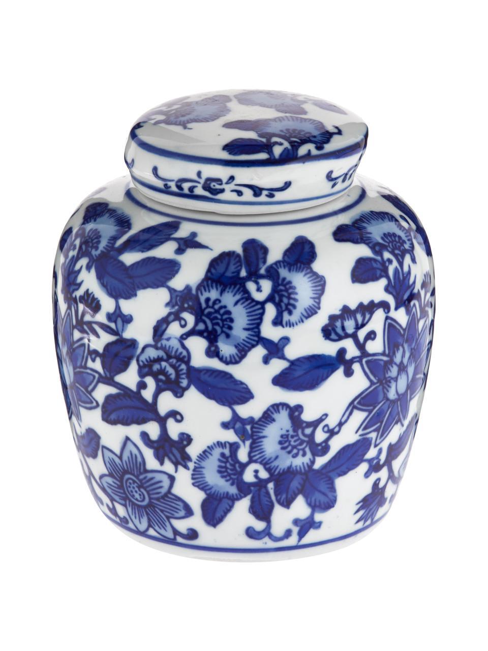 Vaso in porcellana con coperchio  Annabelle, Porcellana, Blu, bianco, Ø 11 x Alt. 13 cm
