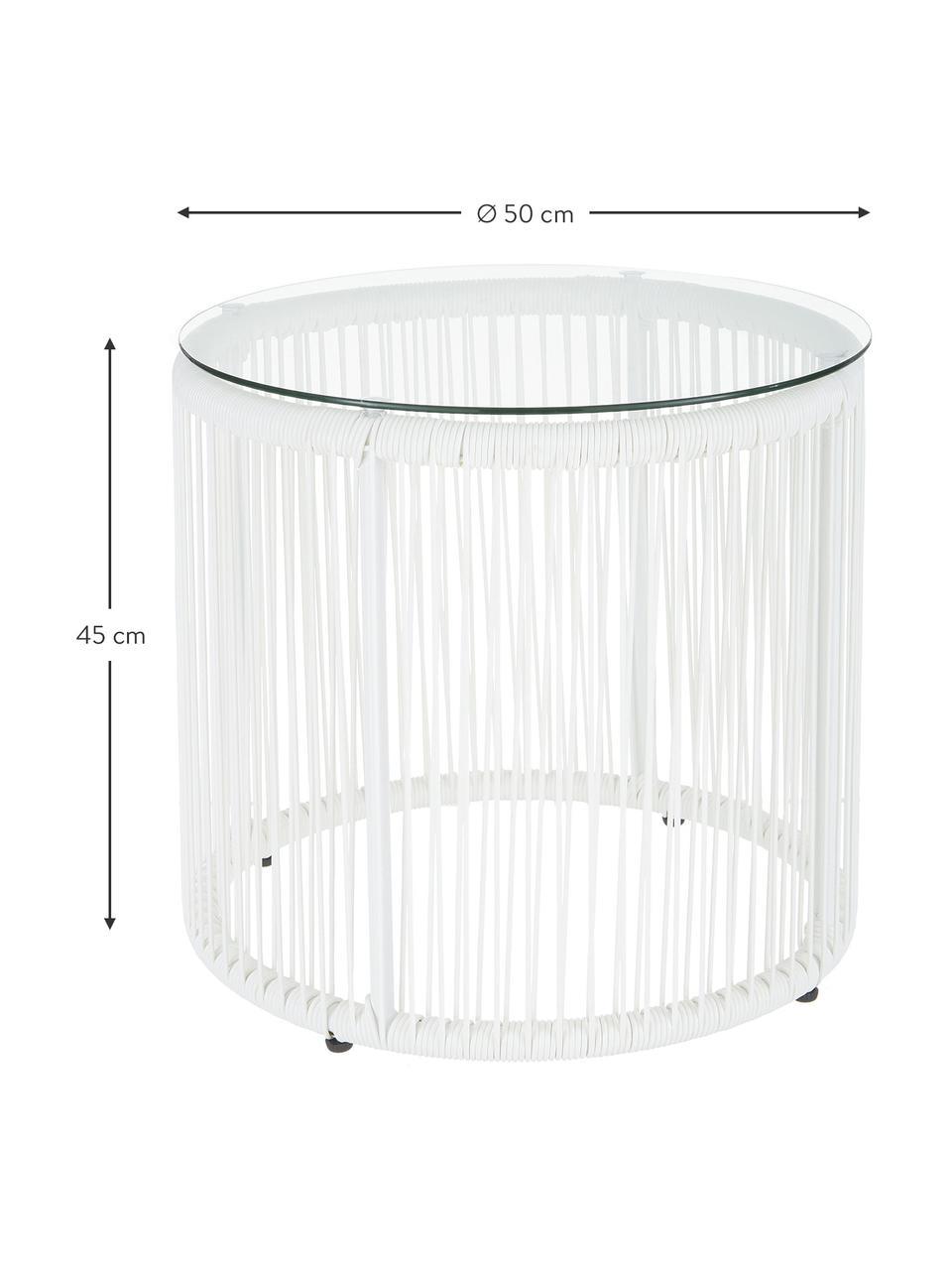 Beistelltisch Bahia aus Kunststoff-Geflecht, Tischplatte: Glas, Gestell: Aluminium, pulverbeschich, Weiß, Ø 50 x H 45 cm