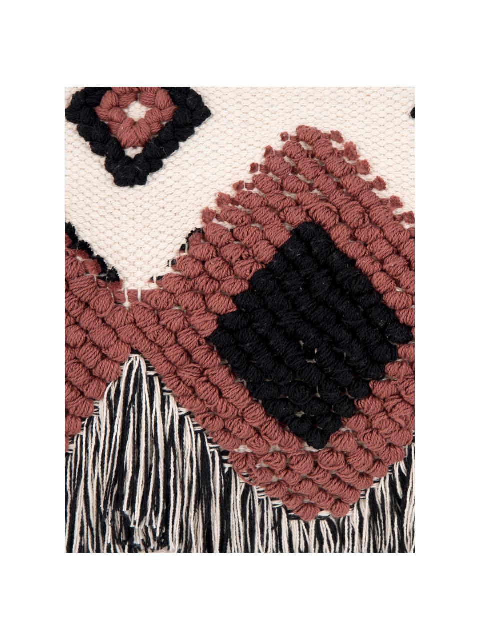 Gewebte Kissenhülle Tanea mit Fransen im Ethno Style, 100% Baumwolle, Ecru, Schwarz, Rostrot, 40 x 60 cm