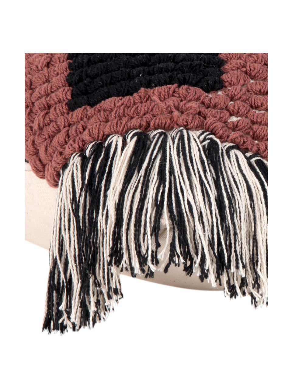 Federa arredo con frange Tanea, 100% cotone, Ecru, nero, rosso ruggine, Larg. 40 x Lung. 60 cm