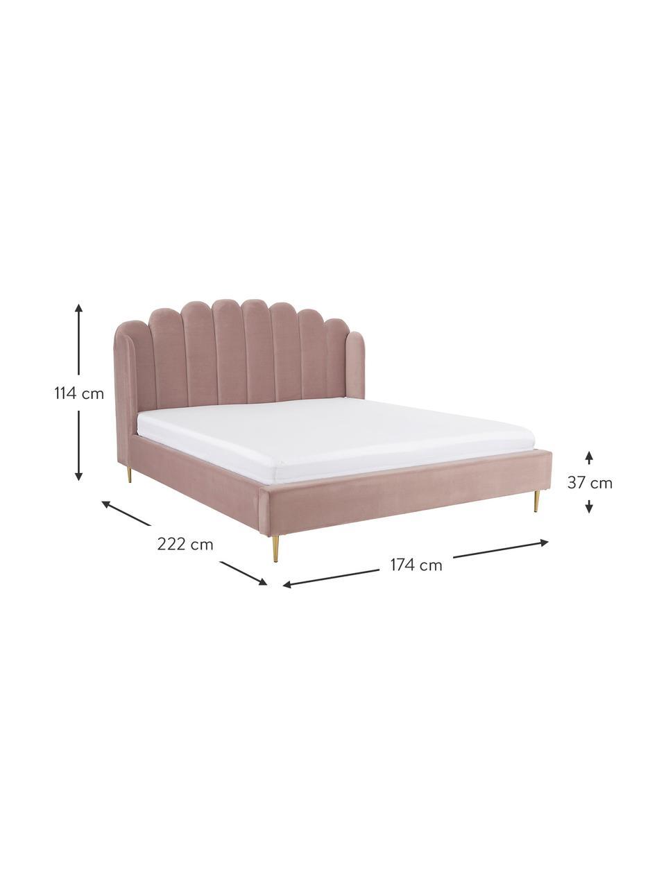 Łóżko tapicerowane z aksamitu Glamour, Korpus: lite drewno sosnowe, Nogi: metal mosiądzowany, Tapicerka: aksamit (poliester) 100 0, Aksamitny blady różowy, S 180 x D 200 cm