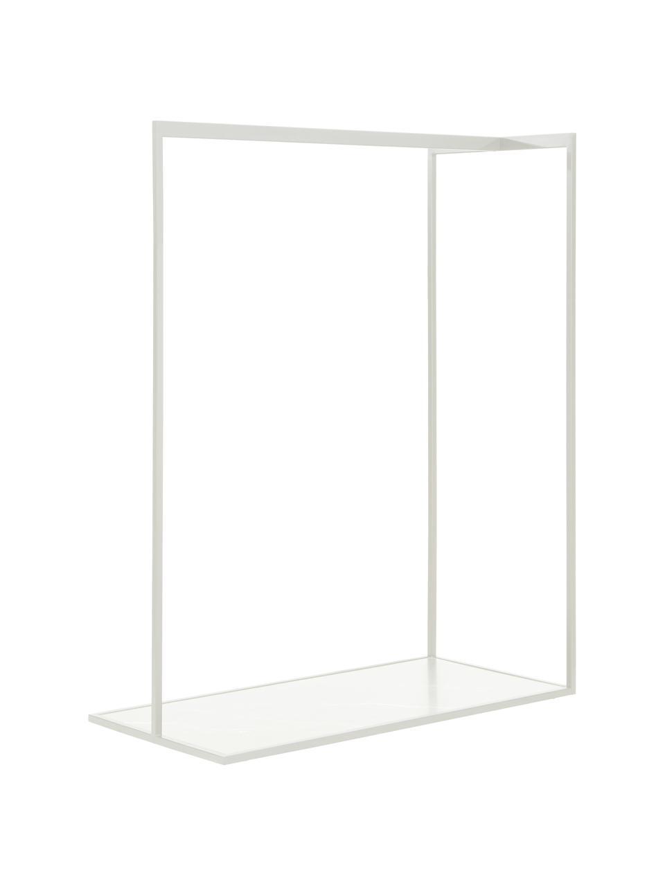 Kledingstang Pacey in marmerlook, Frame: gepoedercoat metaal, Plank: MDF, melamine bekleed, Wit, 120 x 152 cm