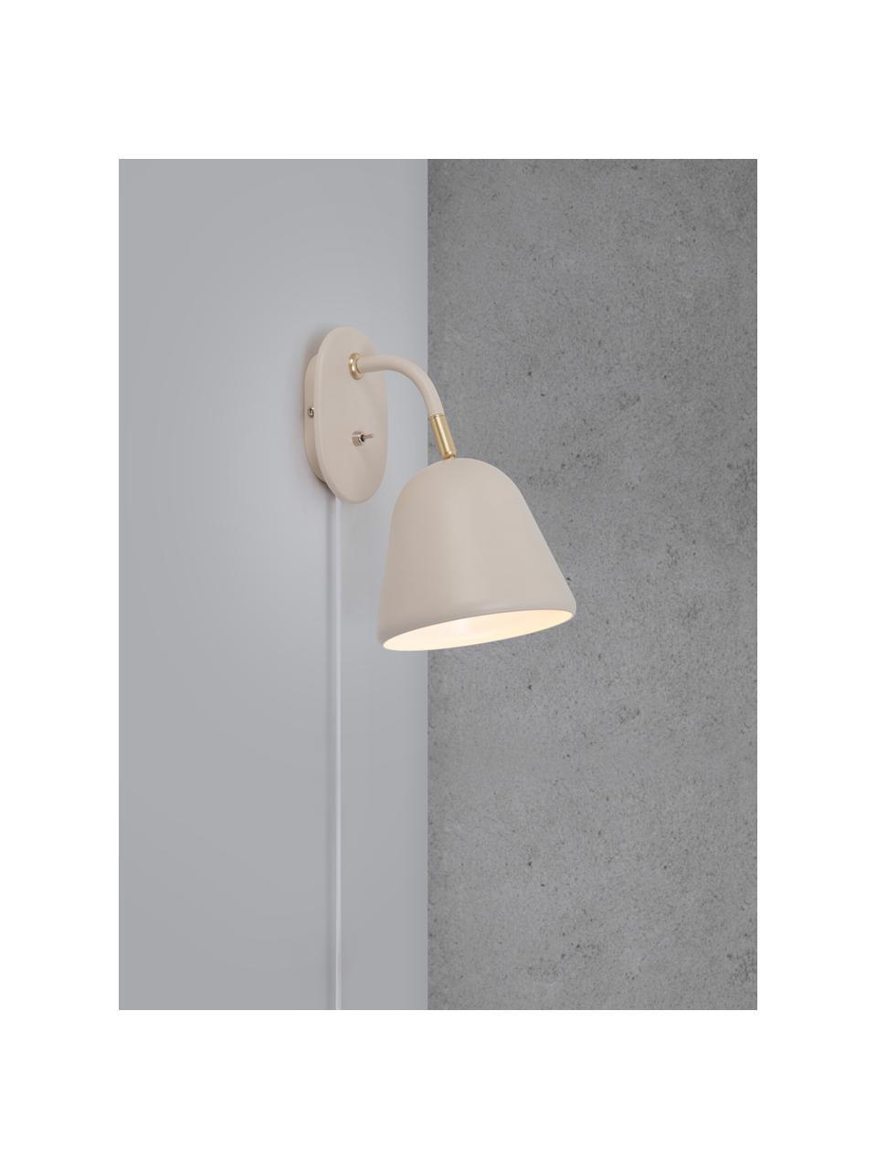 Wandlamp Fleur met stekker, Lampenkap: gecoat metaal, Lampvoet: gecoat metaal, Decoratie: metaal, Beige, 15 x 26 cm