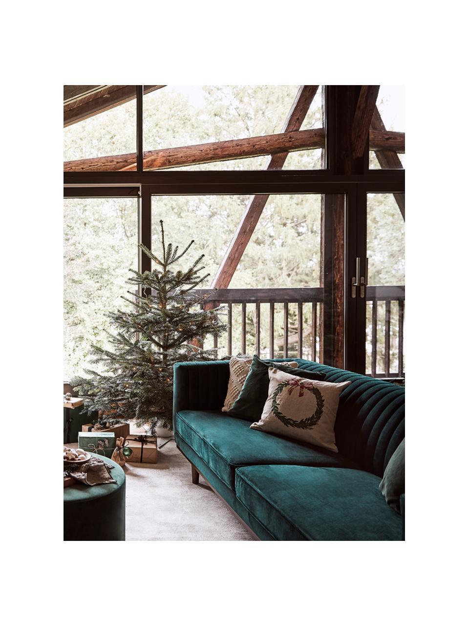Sofa z aksamitu z drewnianymi nogami Dante (3-osobowa), Tapicerka: aksamit poliestrowy, Tapicerka: pianka poliuretanowa, Aksamitny zielony, S 210 x G 87 cm