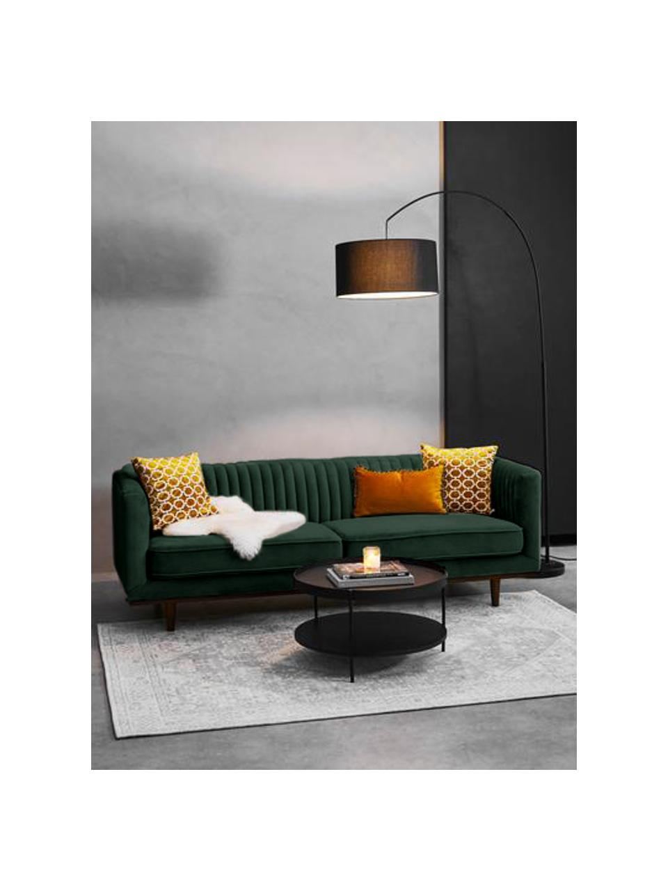 Samt-Sofa Dante (3-Sitzer) in Grün mit Holz-Füßen, Bezug: Polyestersamt, Gestell: Kautschukbaumholz, klarla, Samt Grün, B 210 x T 87 cm
