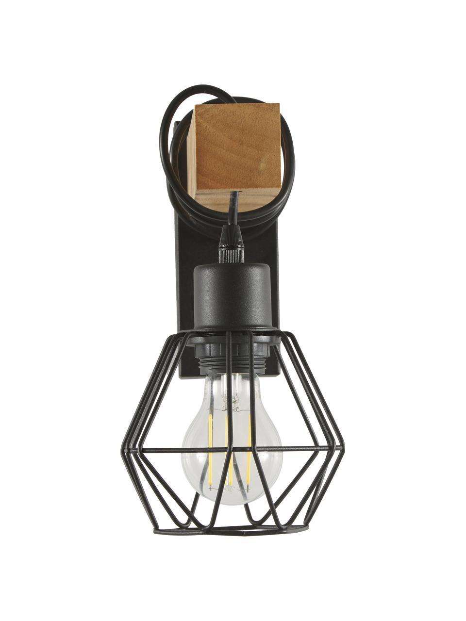 Wandleuchte Townshend im Industrial-Style, Lampenschirm: Metall, beschichtet, Gestell: Holz, Schwarz, Holz, 14 x 25 cm