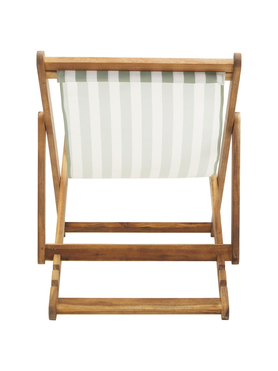 Transat pliable en bois Zoe, Vert, blanc