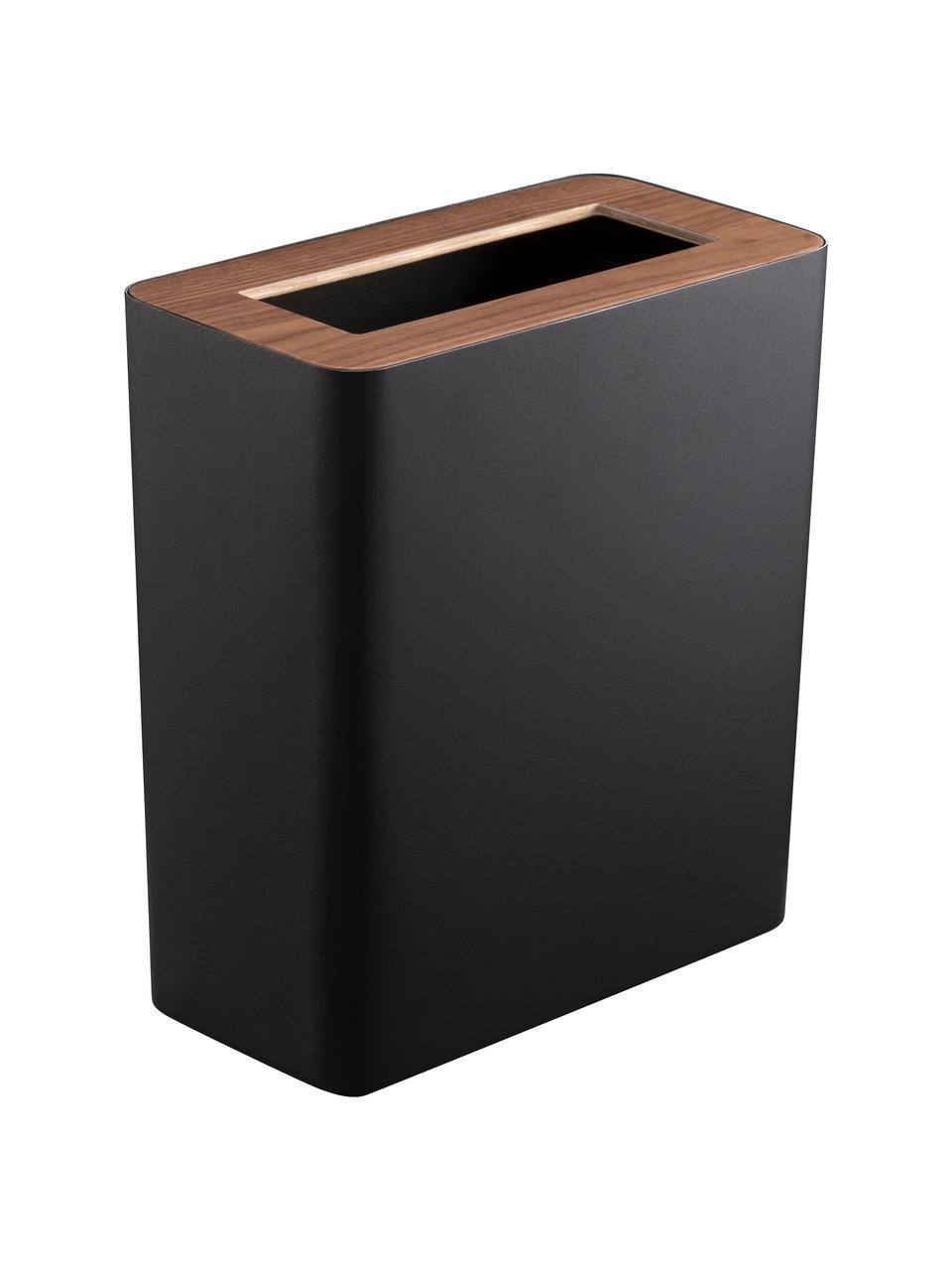 Cestino in acciaio verniciato Rin, Coperchio: legno, Nero, marrone scuro, Larg. 28 x Alt. 30 cm