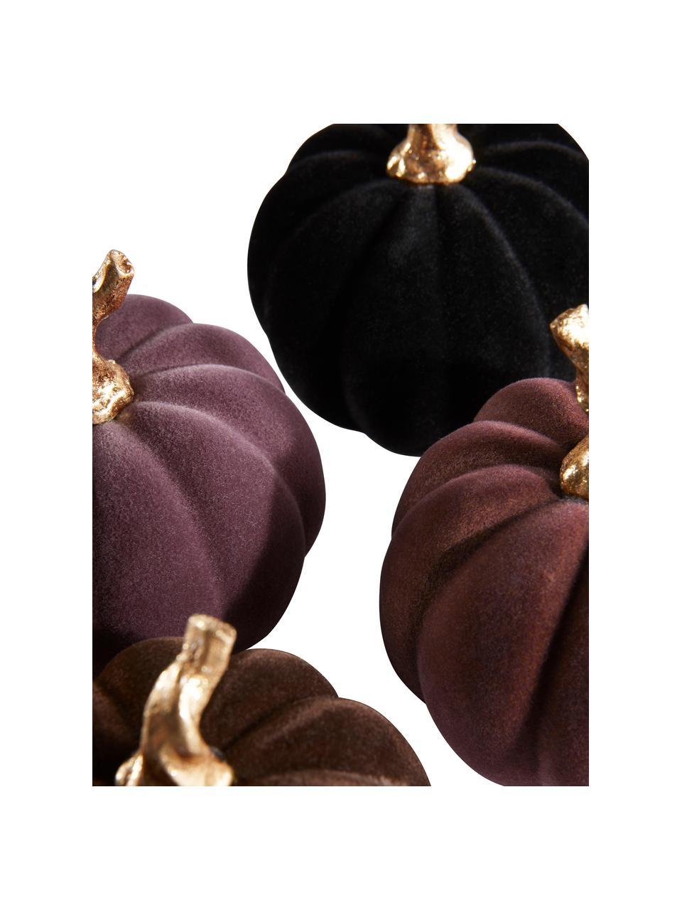 Set 4 zucche decorative Mercy, Poliresina vellutata al tatto, Viola, nero, Ø 9 x Alt. 9 cm