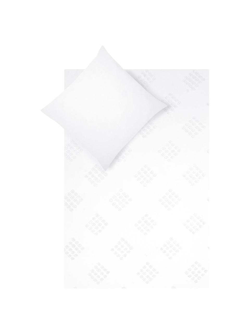Pościel z perkalu  z tuftowaną dekoracją Fia, Biały, 135 x 200 cm