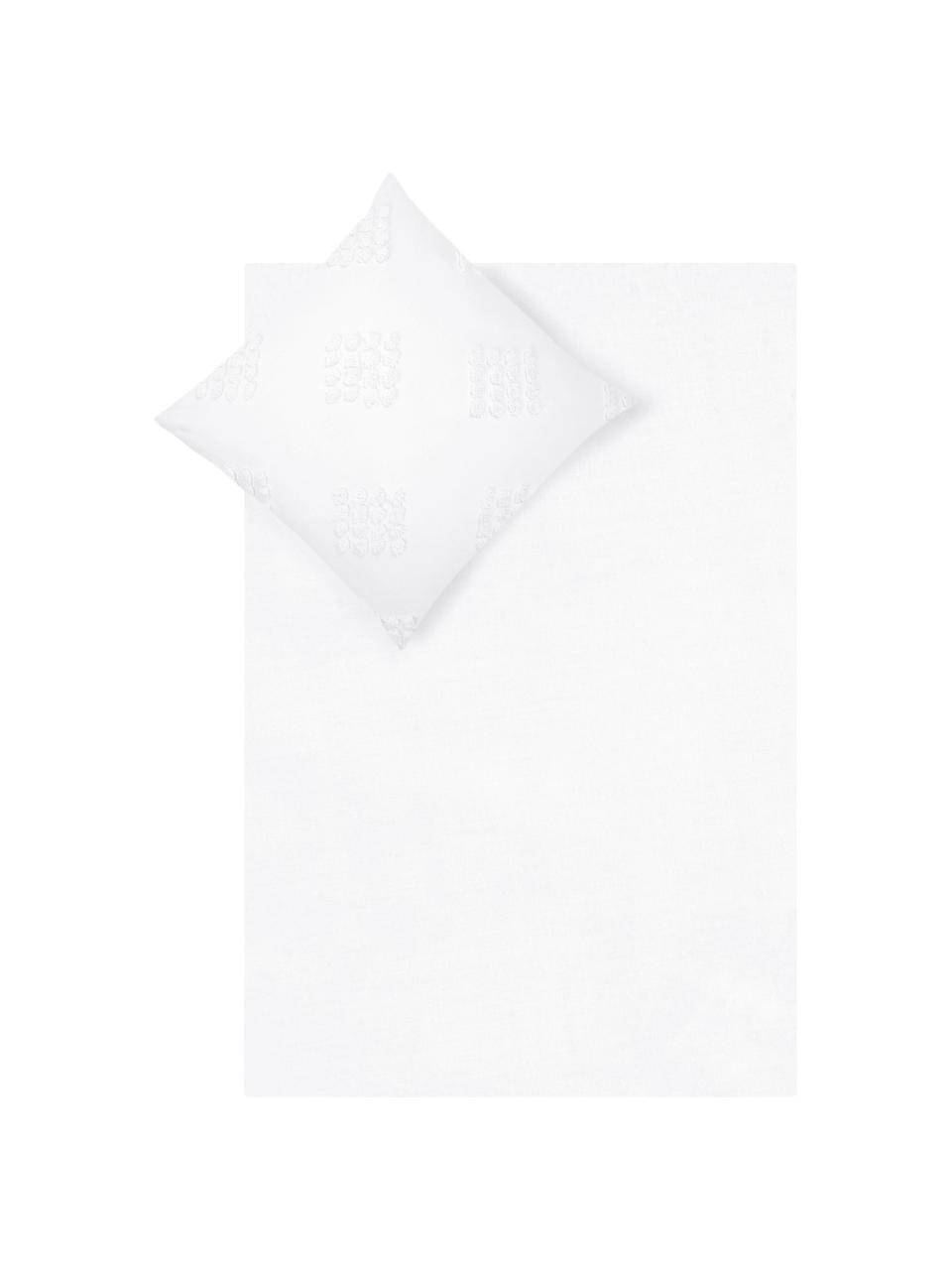 Baumwollperkal-Bettwäsche Fia mit getufteter Verzierung, Webart: Perkal Fadendichte 180 TC, Weiß, 135 x 200 cm + 1 Kissen 80 x 80 cm