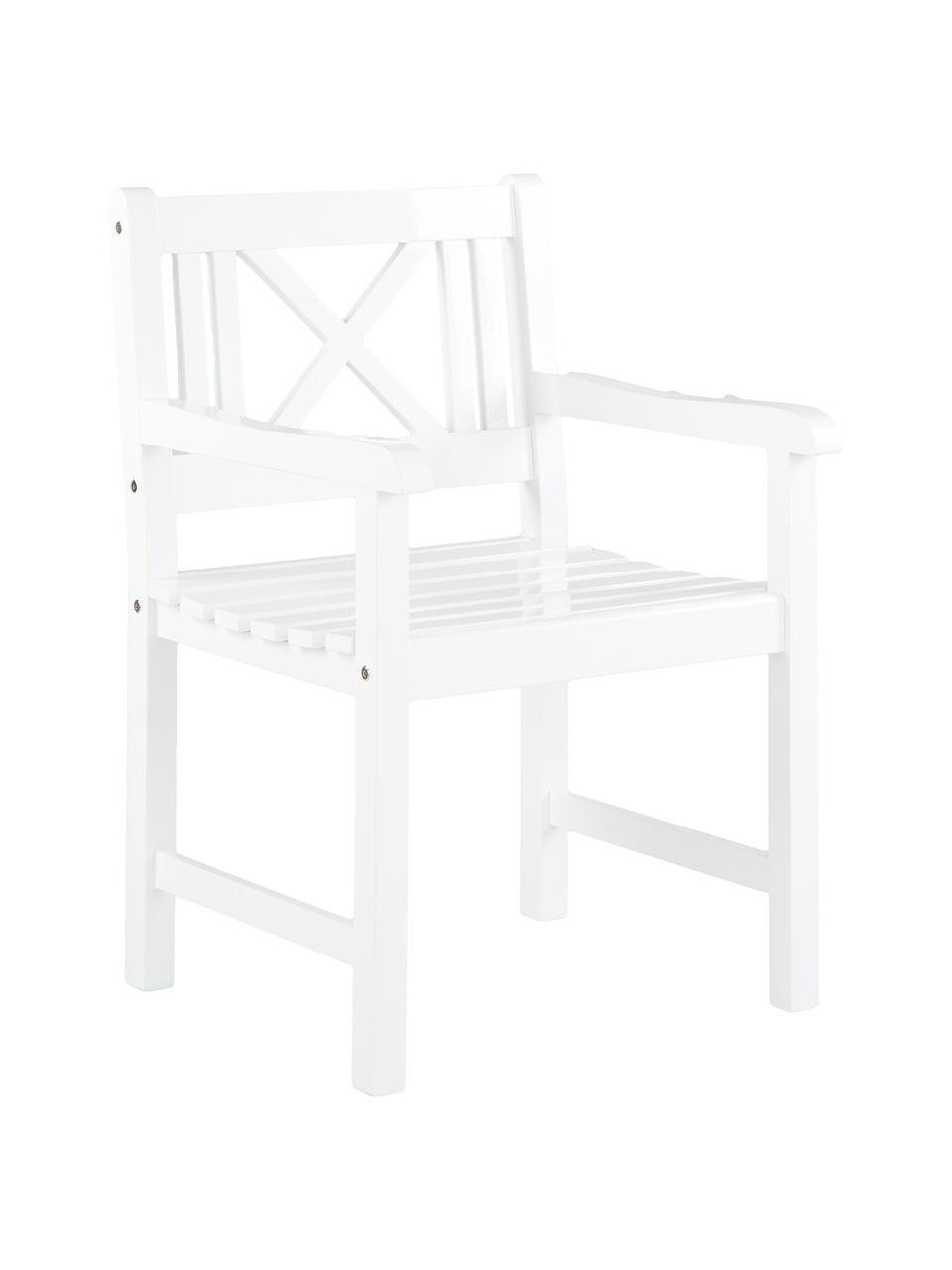 Krzesło ogrodowe z podłokietnikami  z drewna Rosenborg, Drewno mahoniowe, lakierowane, Biały, S 59 x W 89 cm