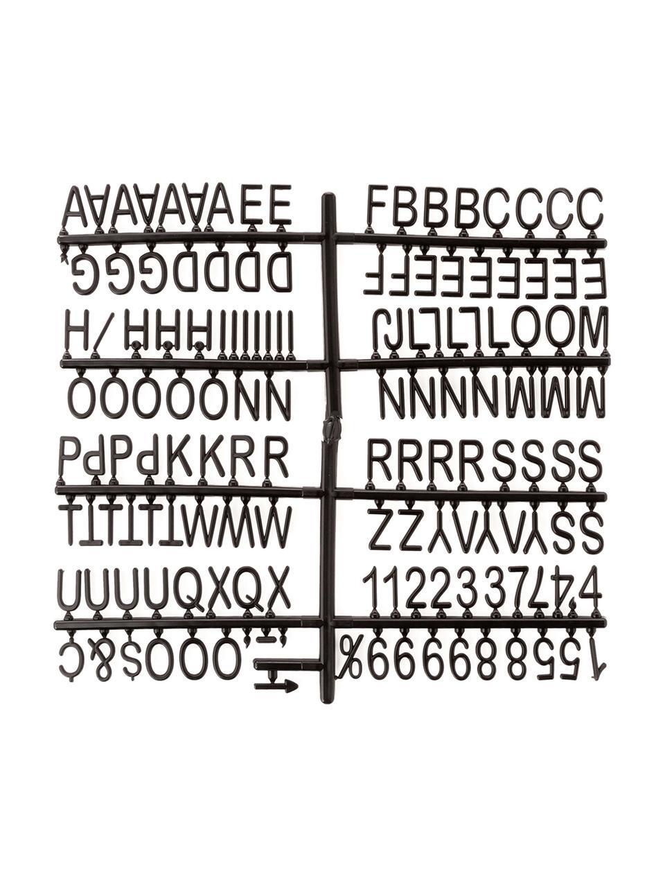 Buchstabentafel Wallplaque mit Holzrahmen, 291-tlg., Rahmen: Holz, Grau, 26 x 26 cm