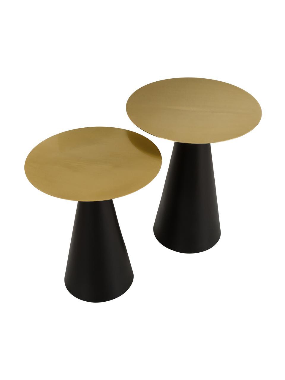 Set 2 tavolini in metallo Zelda, Struttura: metallo verniciato a polv, Dorato, nero, Set in varie misure