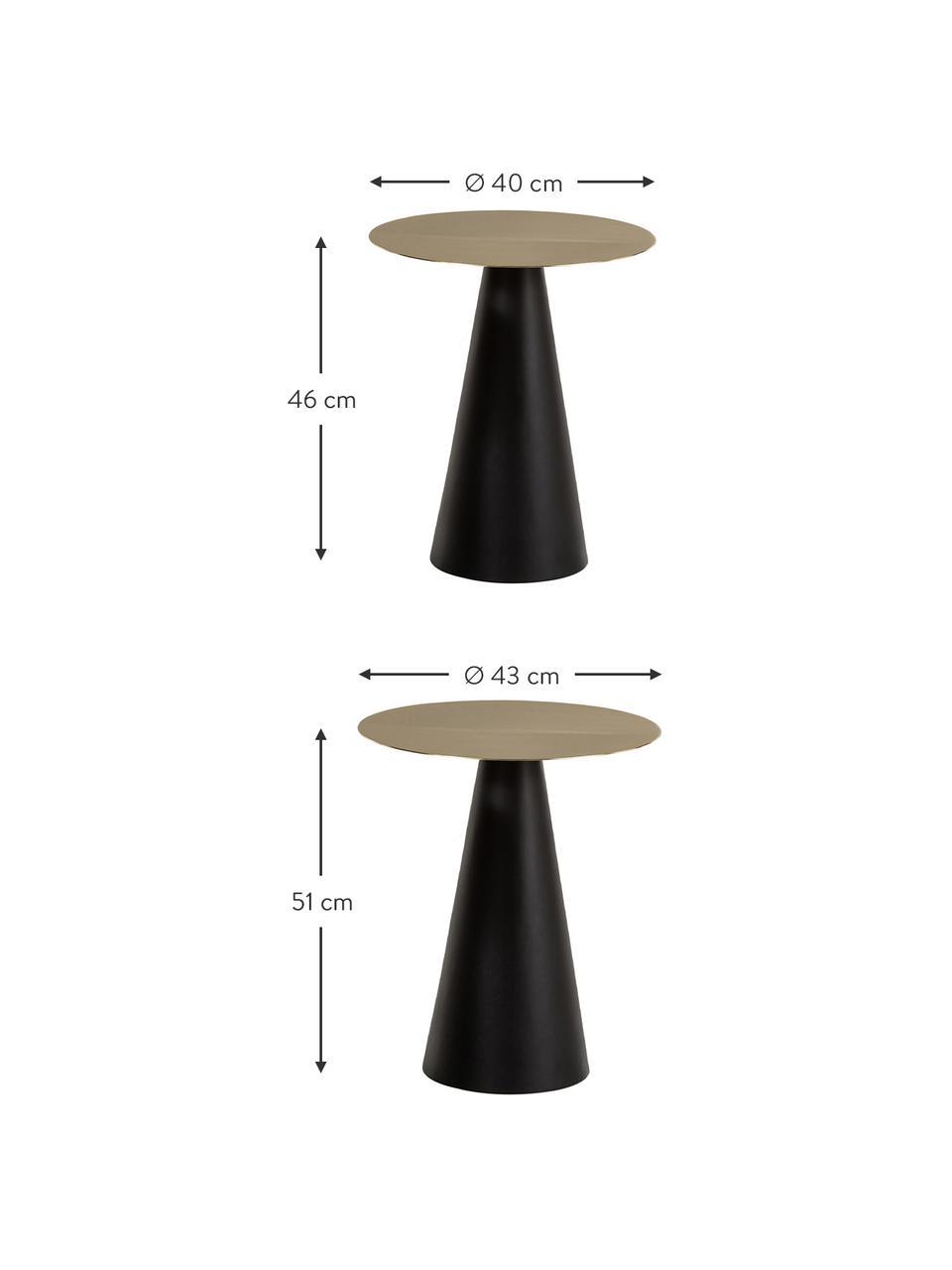 Bijzettafelset Zelda van metaal, 2-delig, Frame: gepoedercoat metaal, Goudkleurig, zwart, Set met verschillende formaten