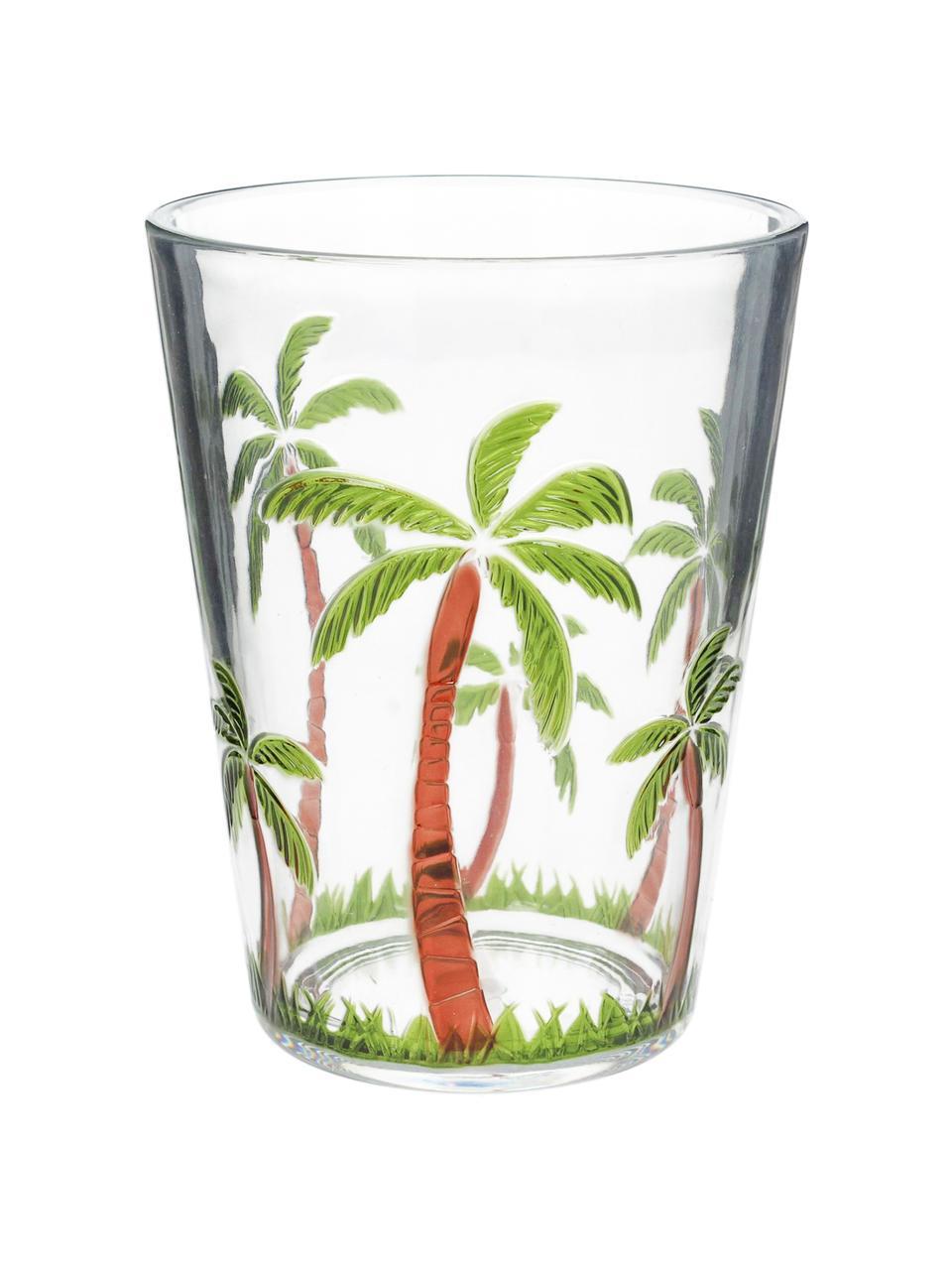 Szklanka do wody z akrylu Gabrielle, Akryl, Transparentny, zielony, brązowy, Ø 9 x W 12 cm