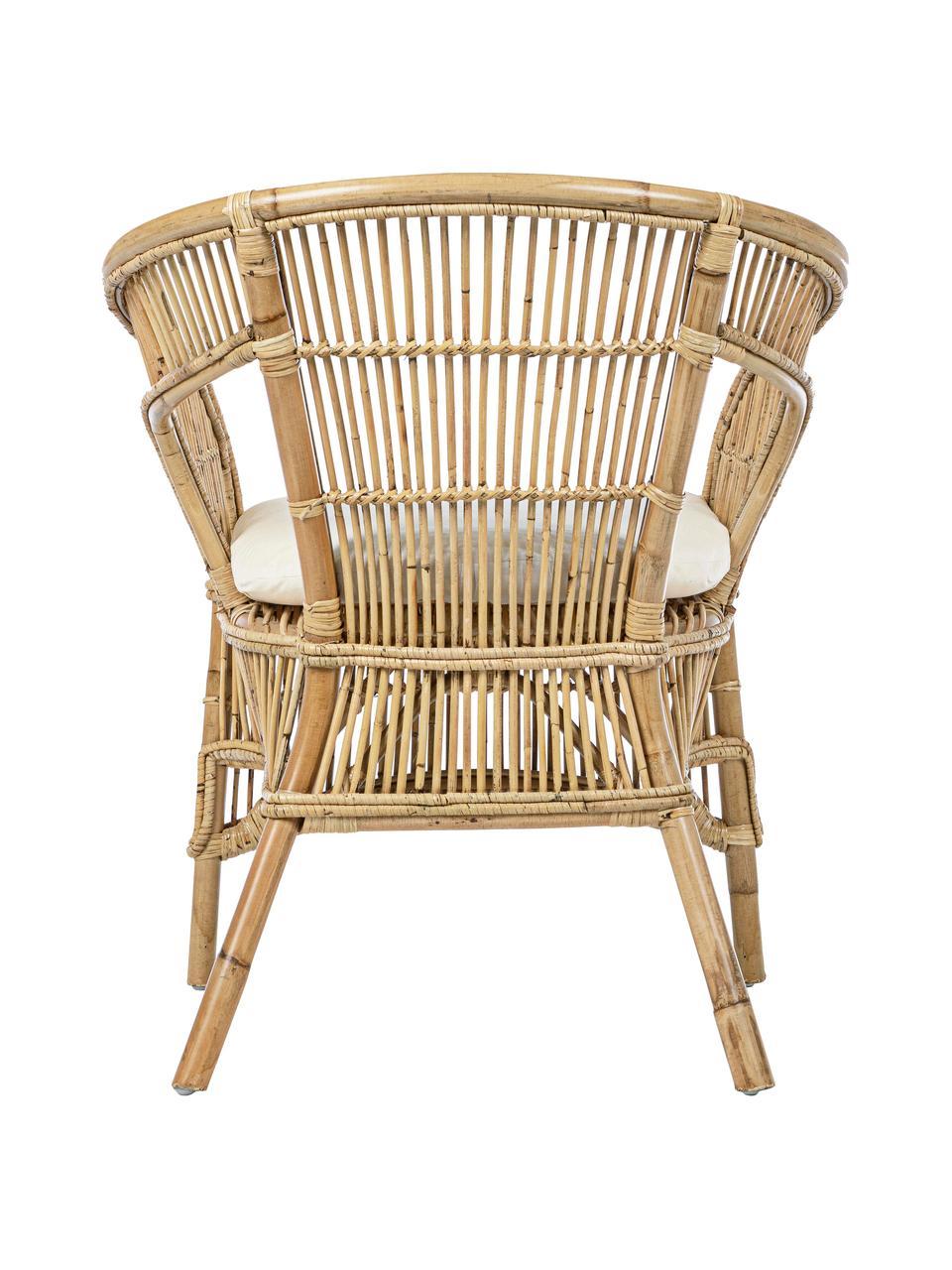 Rattanstuhl Consuelo mit Sitzkissen, Beige, 68 x 82 cm