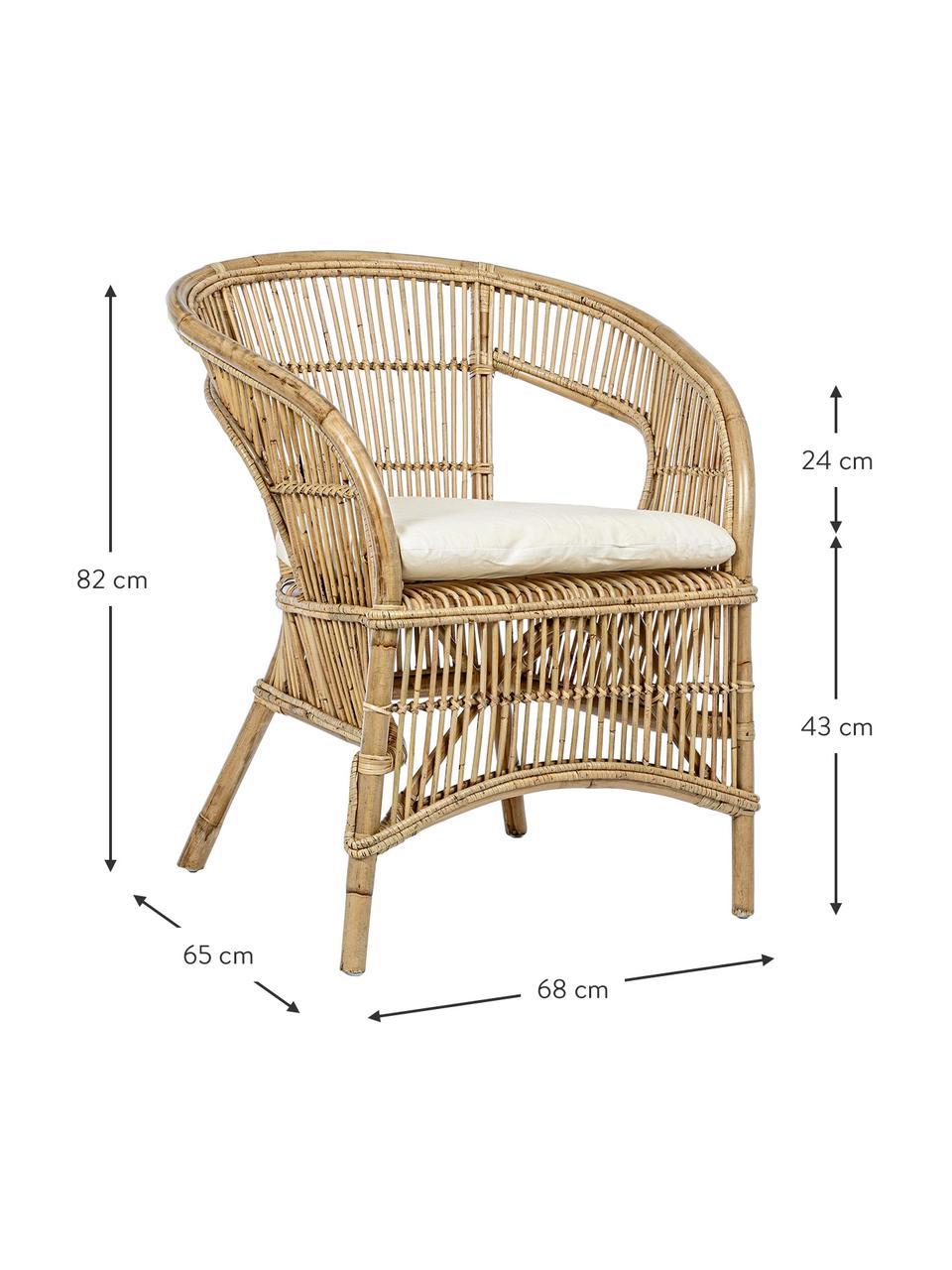 Rotan stoel Consuelo met stoelkussen, Beige, 68 x 82 cm